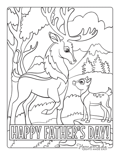 Fathers Day Coloring Pages Stag Fawn