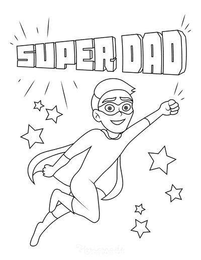 Fathers Day Coloring Pages Super Dad Flying