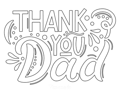 Fathers Day Coloring Pages Thank You Dad