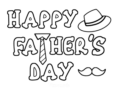 Fathers Day Coloring Pages Tie Hat
