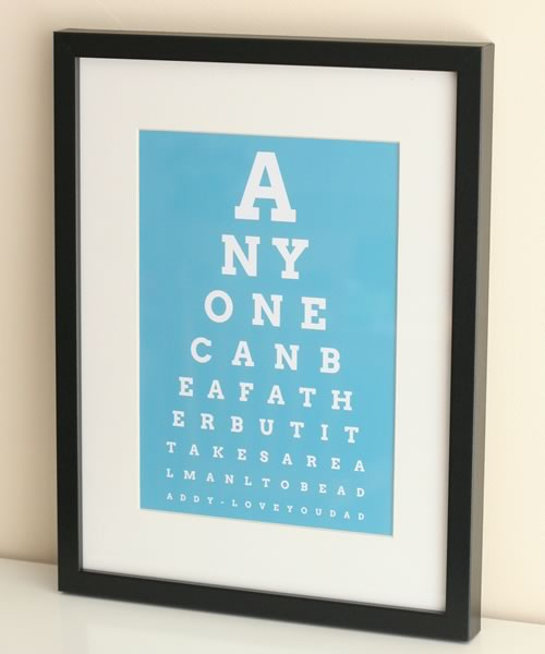 personalized fathers day gift eye chart in black frame