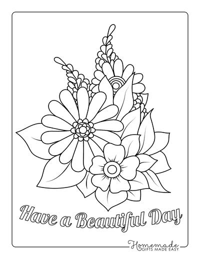 Flower Coloring Pages Arrangement