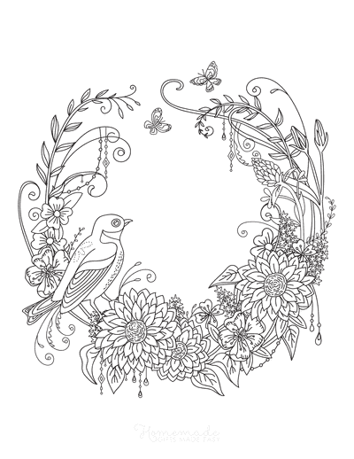 Flower Coloring Pages Beautiful Detailed Bird Flower Wreath