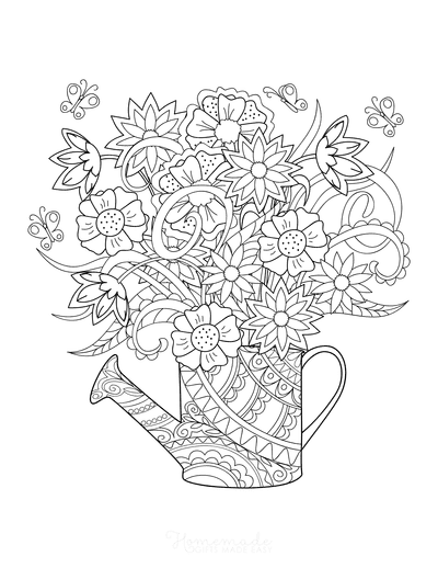 Flower Coloring Pages Beautiful Flowers in Jug Doodle