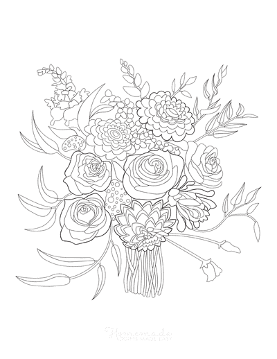 Flower Coloring Pages Bouquet Flowers