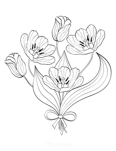 Flower Coloring Pages Bouquet Tulips
