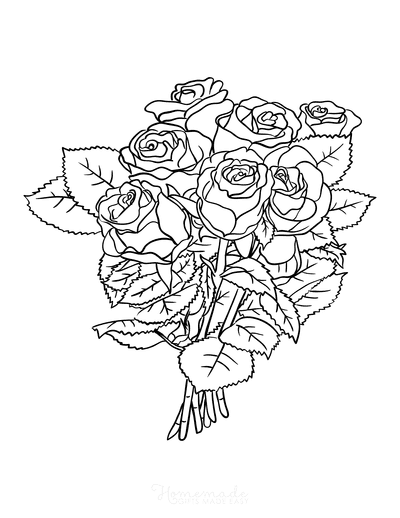 Flower Coloring Pages Bunch of Roses