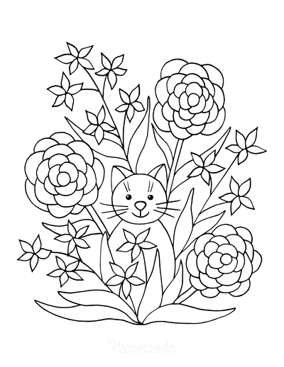Flower Coloring Pages Cat Garden Flowers