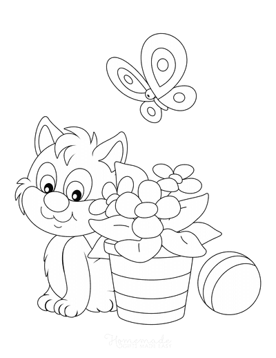 Flower Coloring Pages Cute Cat Flower Pot Butterfly