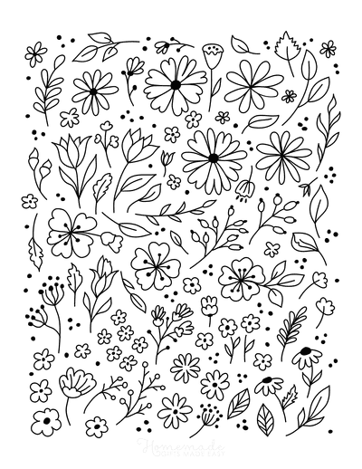 Flower Coloring Pages Cute Flower Doodle