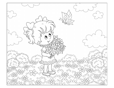 Flower Coloring Pages Cute Girl Flower Meadow