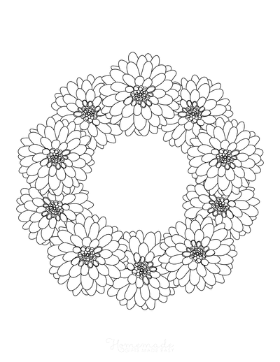 Flower Coloring Pages Dahlia Wreath Border