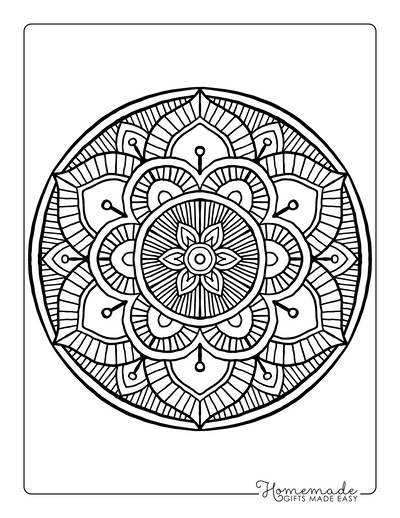 Flower Coloring Pages Detailed Patterned Mandala