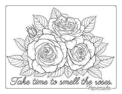 Flower Coloring Pages Detailed Rose Arrangement
