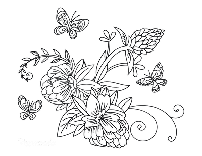Flower Coloring Pages Doodle Flowers Butterflies