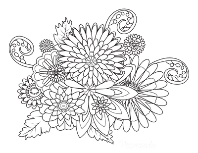 Flower Coloring Pages Doodle for Adults