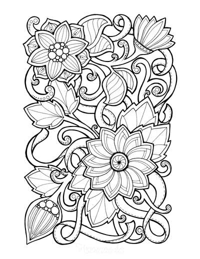 Flower Coloring Pages Doodle to Color 1