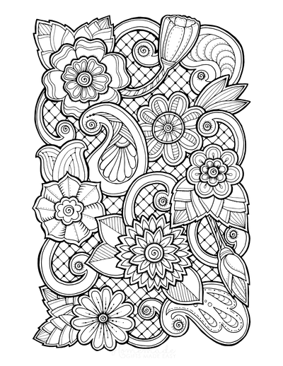 Flower Coloring Pages Doodle to Color 3