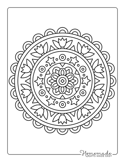 Flower Coloring Pages Easy Mandala Tulips Stars
