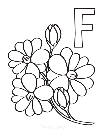 Flower Coloring Pages F Is for Flower Simple
