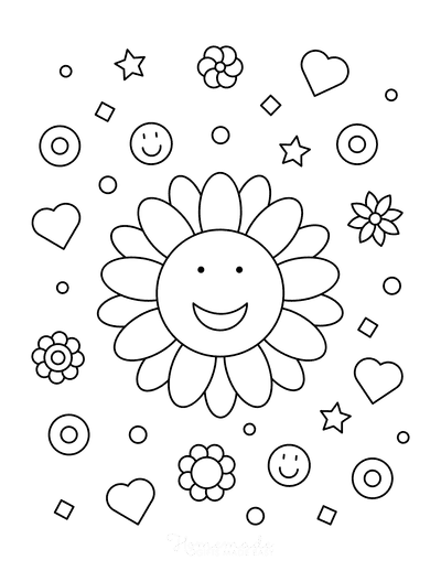 Flower Coloring Pages Happy Smiley Flower for Kids
