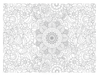 Flower Coloring Pages Intricate Doodle for Adults