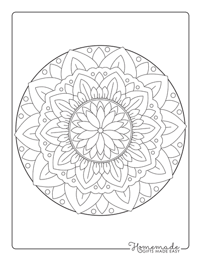Flower Coloring Pages Intricate Mandala