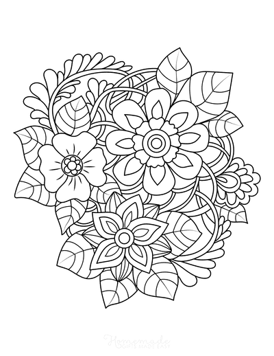 Flower Coloring Pages Leaves 3 Flowers