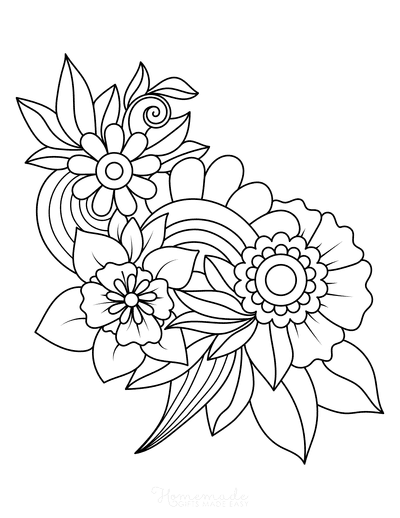 Flower Coloring Pages Leaves and Flowers