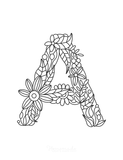 Flower Coloring Pages Letter a