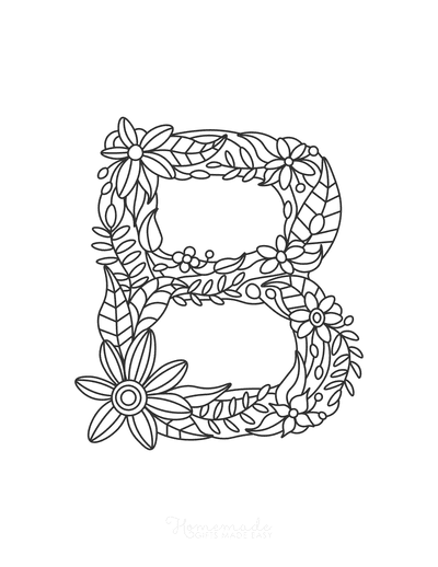 Flower Coloring Pages Letter B
