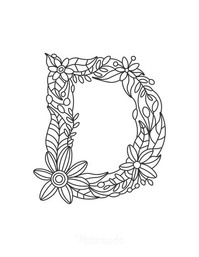 Flower Coloring Pages Letter D