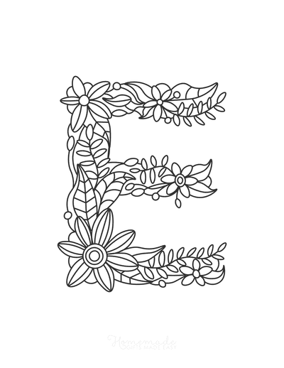 Flower Coloring Pages Letter E