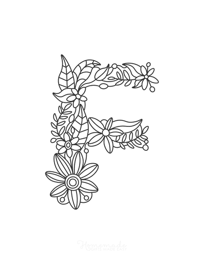 Flower Coloring Pages Letter F