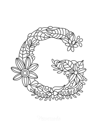 Flower Coloring Pages Letter G