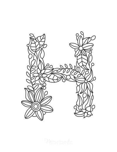 Flower Coloring Pages Letter H