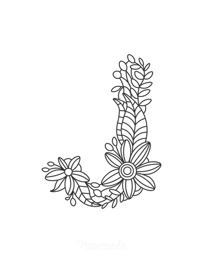 Flower Coloring Pages Letter J