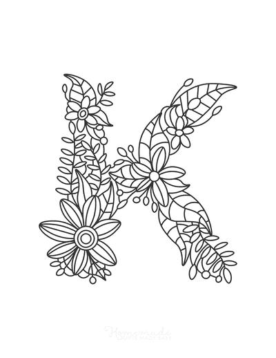 Flower Coloring Pages Letter K