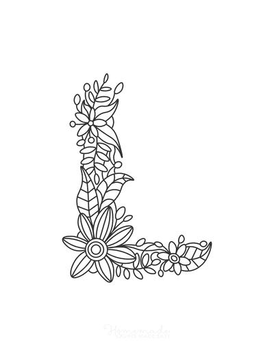 Flower Coloring Pages Letter L