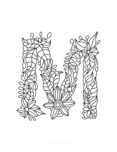 Flower Coloring Pages Letter M