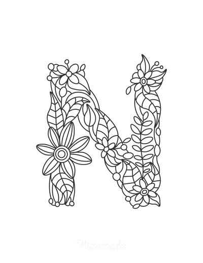 Flower Coloring Pages Letter N