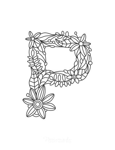 Flower Coloring Pages Letter P