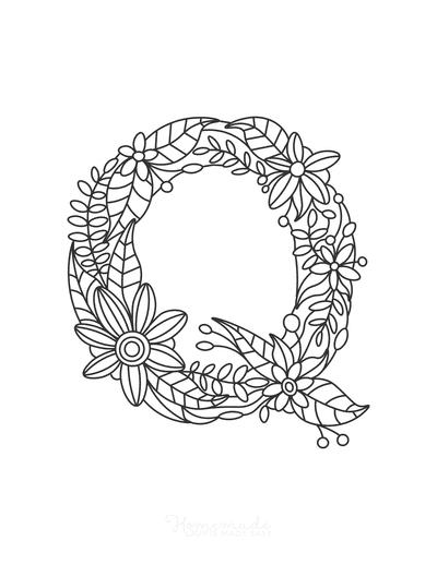 Flower Coloring Pages Letter Q