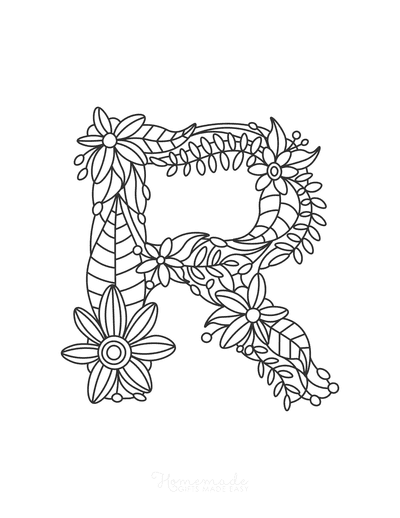 Flower Coloring Pages Letter R