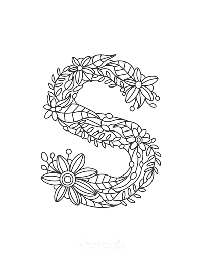 Flower Coloring Pages Letter S