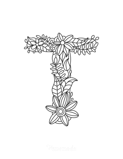 Flower Coloring Pages Letter T