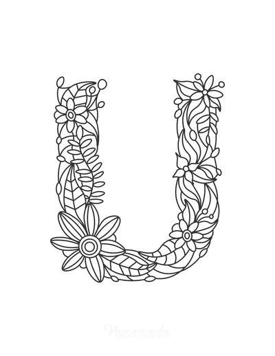 Flower Coloring Pages Letter U