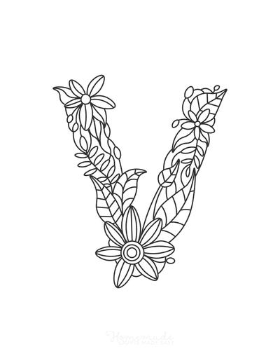 Flower Coloring Pages Letter V