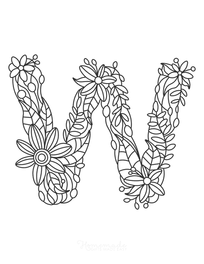 Flower Coloring Pages Letter W