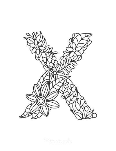 Flower Coloring Pages Letter X